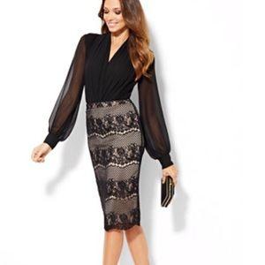 Eva Mendes Ashely lace pencil skirt